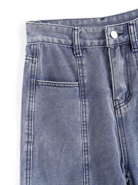 Jeans en Pierna Recta de Múltiples Bolsillos - Azul M Mobile