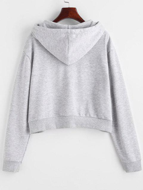 ladies Marled French Terry Butterfly Embroidered Hoodie - GRAY M Mobile