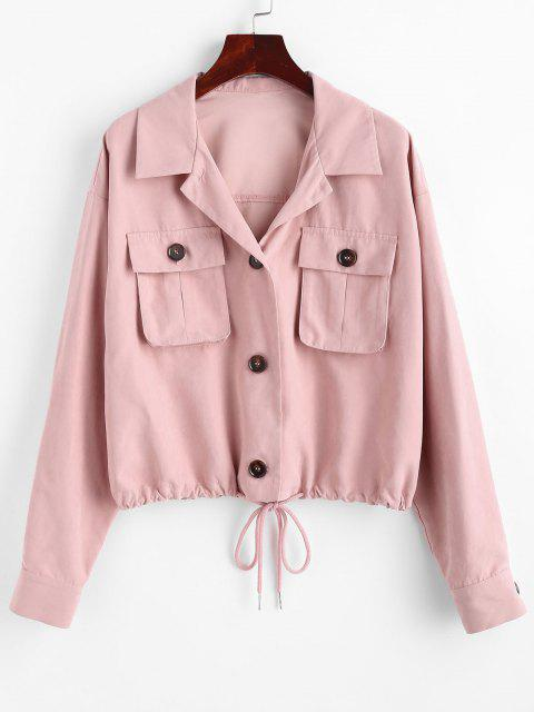 ZAFUL Drop Shoulder Pocket Drawstring Hem Jacket - الكاكي روز L Mobile