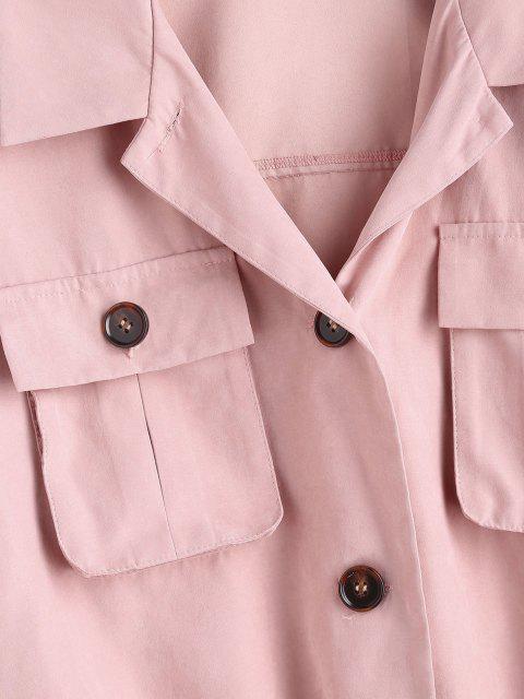 online ZAFUL Drop Shoulder Pocket Drawstring Hem Jacket - KHAKI ROSE S Mobile