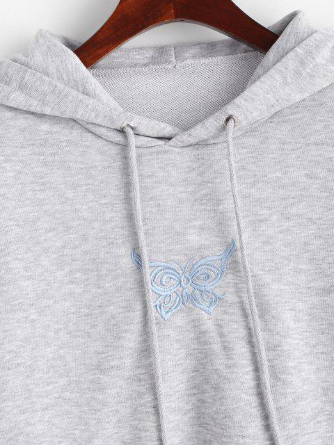 fashion Marled French Terry Butterfly Embroidered Hoodie - GRAY S Mobile
