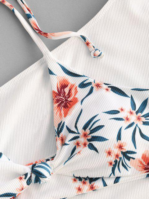 ZAFUL Biquíni de Três Peças com Nervuras e Tie-Dye Floral - Branco S Mobile