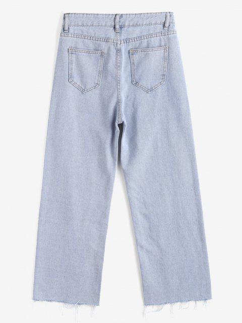 best Light Wash Frayed Hem Wide Leg Jeans - LIGHT BLUE L Mobile