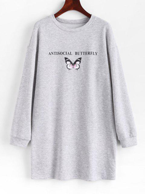 outfit ZAFUL Antisocial Butterfly Print Drop Shoulder Sweatshirt Dress - PLATINUM S Mobile