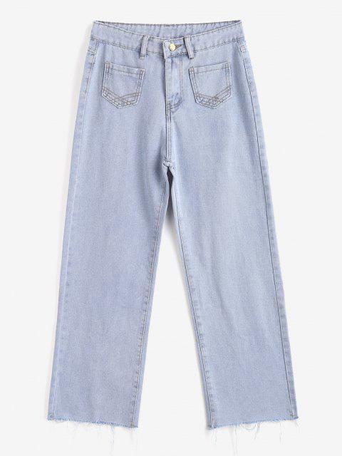 Jean Lavage Léger à Ourlet Effrangé à Jambe Large - Bleu clair XL Mobile