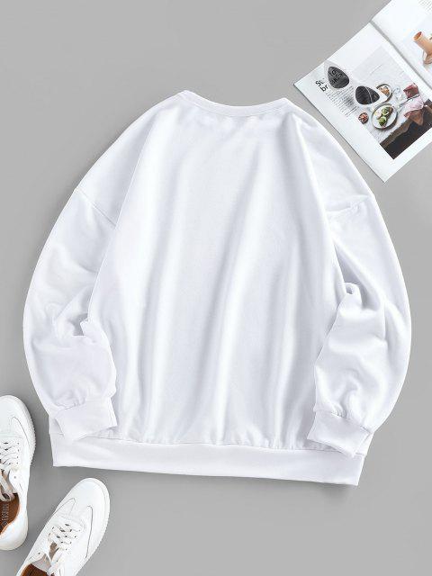 trendy ZAFUL Oversized Graphic Sun Moon Print Sweatshirt - MILK WHITE S Mobile