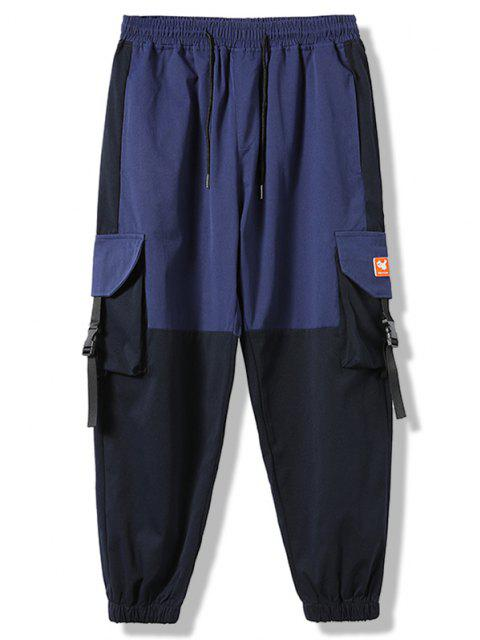 shop Colorblock Panel Flap Pocket Beam Feet Cargo Pants - DENIM DARK BLUE XS Mobile