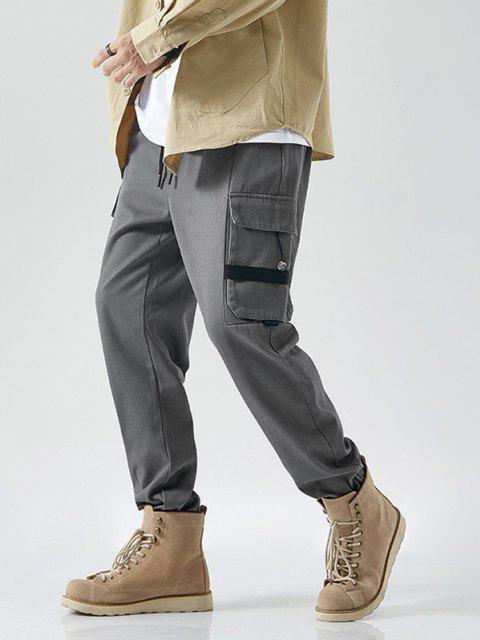 Pantalones de Carga con Cinta de Letras - Gris Oscuro S Mobile