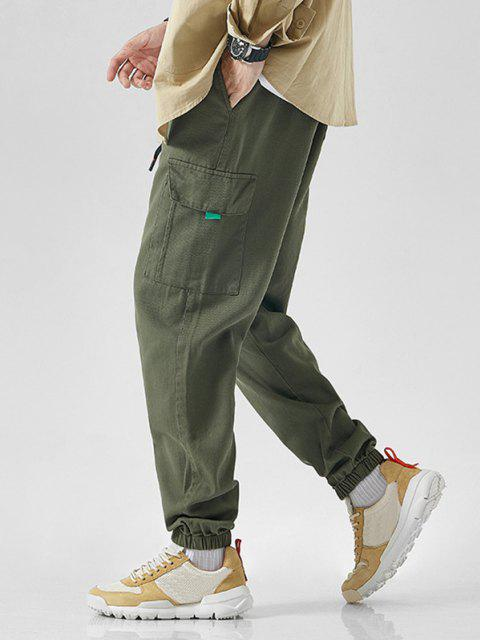 lady Letter Embroidered Drawstring Jogger Cargo Pants - ARMY GREEN XS Mobile