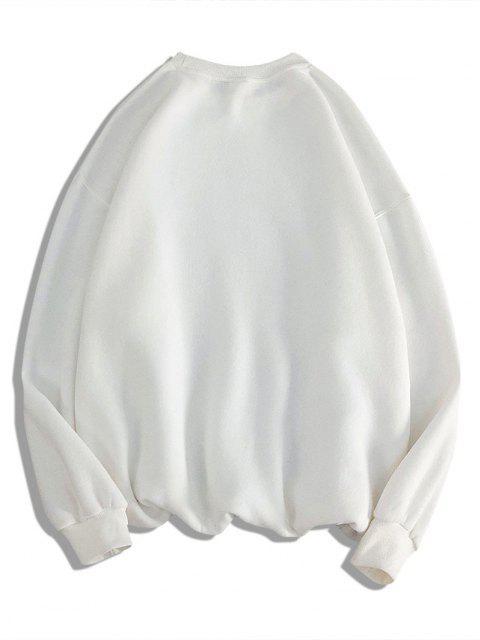 trendy Dog With Rose Pattern Crew Neck Sweatshirt - WHITE M Mobile