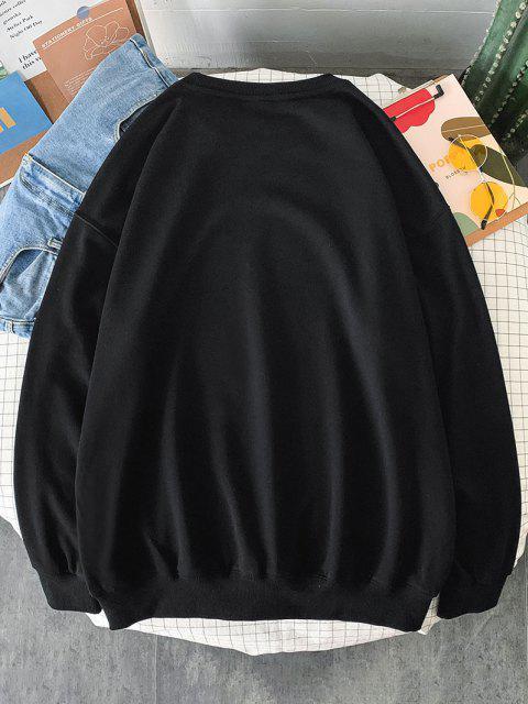 Sweat-shirt Motif de Chien et de Rose à Col Rond - Noir XL Mobile