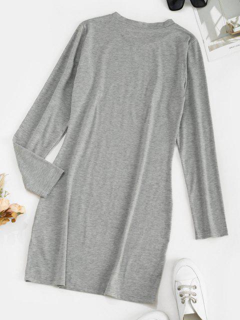 online Long Sleeve CALIFORNIA Graphic Tee Dress - LIGHT GRAY S Mobile