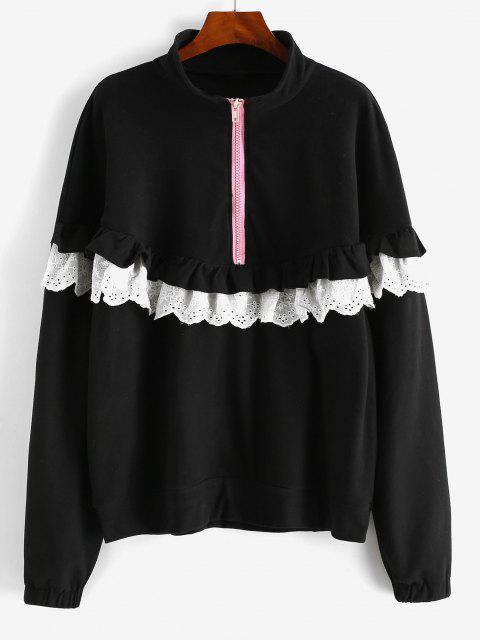Ruffles Half Zip Eyelet Oversize Sweatshirt - أسود XL Mobile