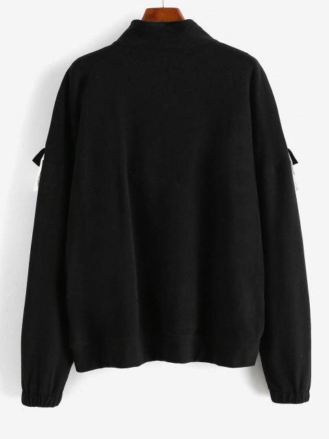 latest Ruffles Half Zip Eyelet Oversize Sweatshirt - BLACK M Mobile