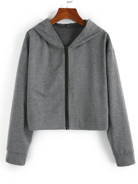 ZAFUL Hooded Drop Shoulder Zip Up Heather Jacket - اللون الرمادي S Mobile