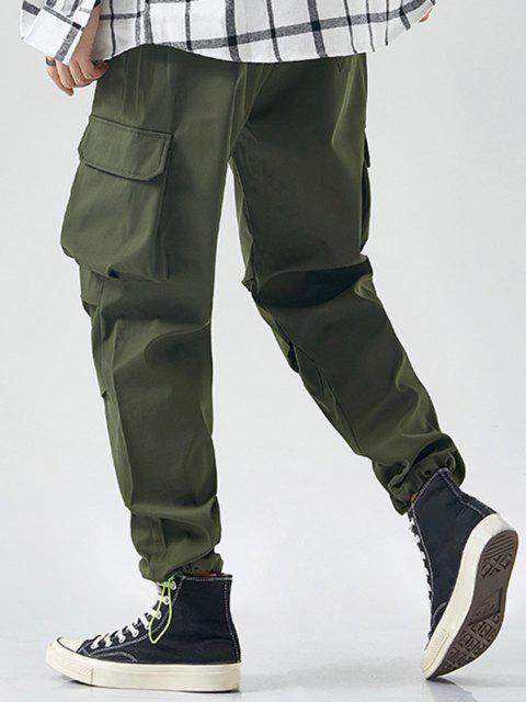 Pantalones de Carga con Detalle de Apliques de Cordón de Tobilla - Ejercito Verde L Mobile