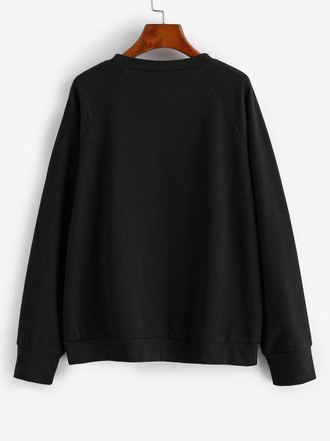ladies Raglan Sleeve Sun Star Graphic Sweatshirt - NIGHT S Mobile