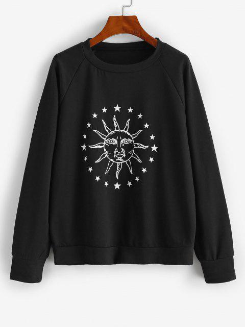 affordable Raglan Sleeve Sun Star Graphic Sweatshirt - NIGHT L Mobile
