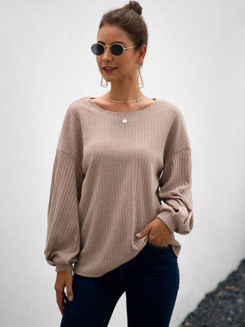 buy Wide Rib Lantern Sleeve Knitwear - LIGHT COFFEE XL Mobile