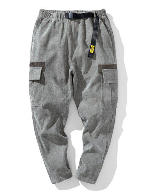 Pantalones de Pana con Hebilla y Apliques Cinta - Gris Claro 2XL Mobile