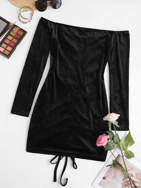 online ZAFUL Off Shoulder Cinched Velvet Ruched Dress - BLACK M Mobile