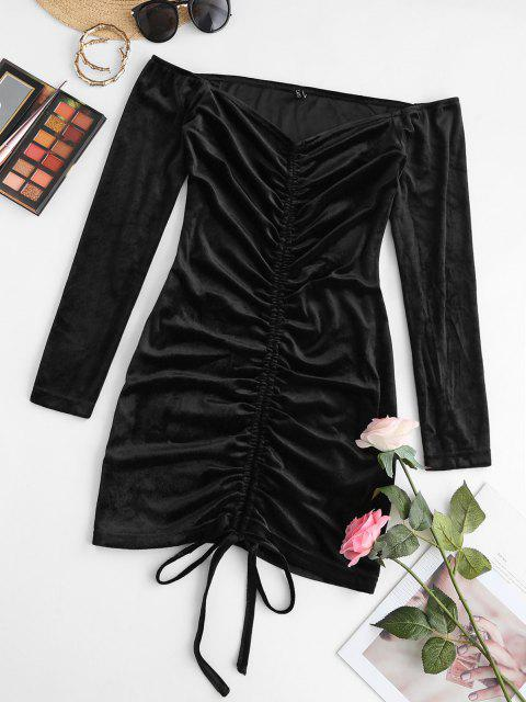 unique ZAFUL Off Shoulder Cinched Velvet Ruched Dress - BLACK L Mobile