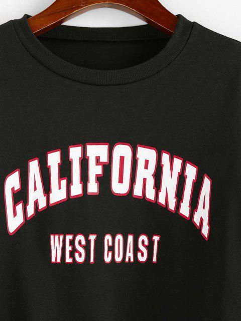 shops ZAFUL Letter Print Cropped Sweatshirt - BLACK S Mobile