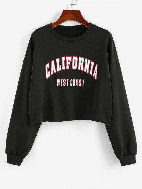 fancy ZAFUL Letter Print Cropped Sweatshirt - BLACK XL Mobile