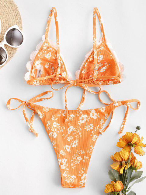 women's ZAFUL Ribbed Ditsy Print Scalloped String Bikini Swimwear - ORANGE M Mobile