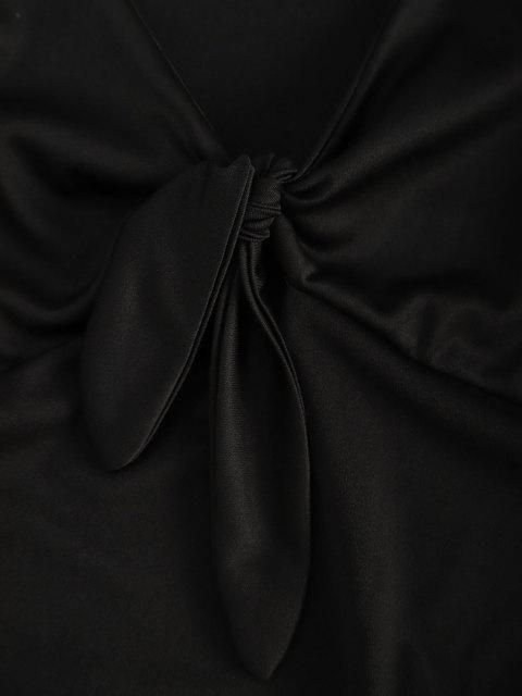 fancy Tie Front Draped Long Sleeve Mini Dress - BLACK L Mobile