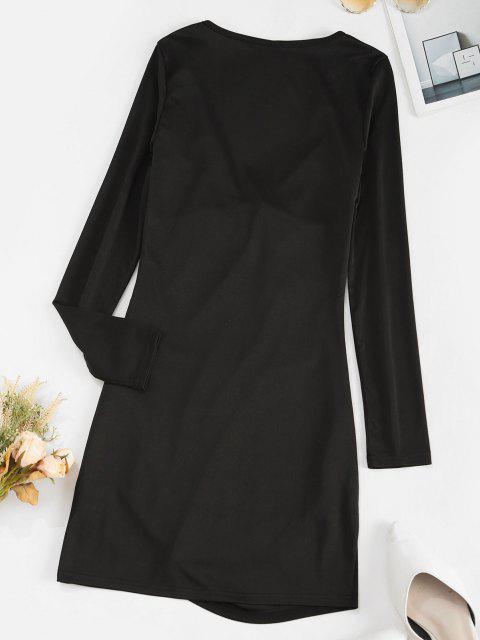 women Tie Front Draped Long Sleeve Mini Dress - BLACK S Mobile