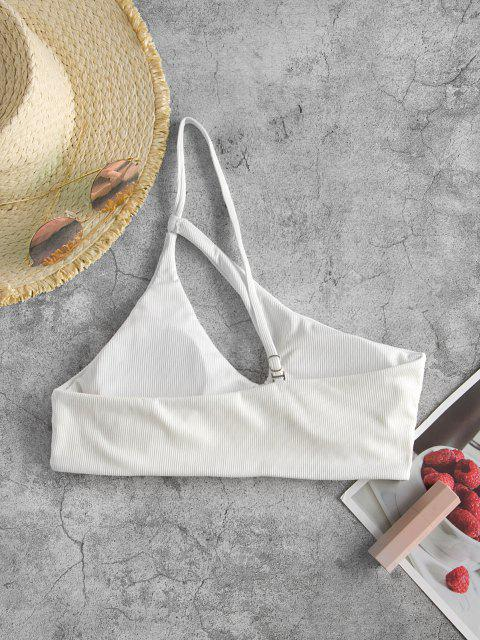 ZAFUL Ribbed One Shoulder Cut Out Bikini Top - أبيض S Mobile