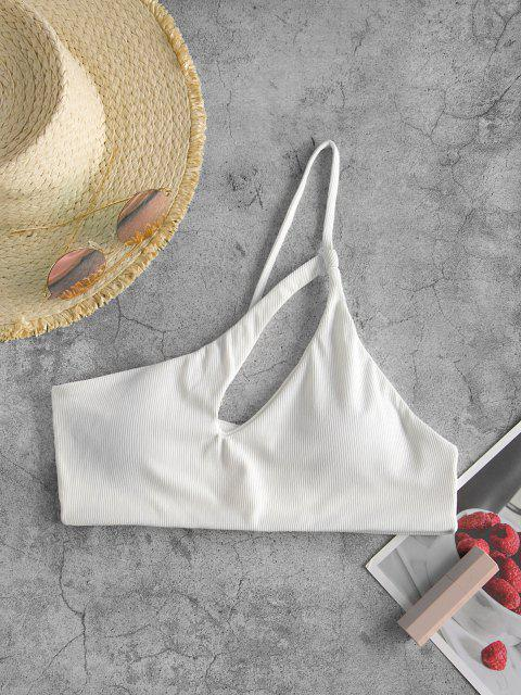 ZAFUL Bikini Top Recortado con Un Hombro - Blanco M Mobile