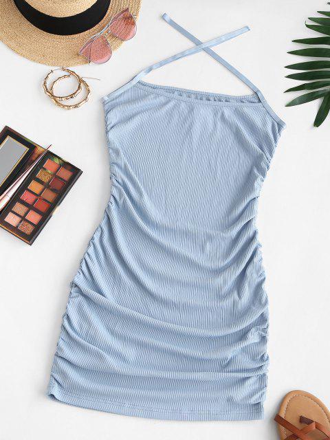 ZAFUL Geripptes Kreuzes und Queres Cami Kleid - Hellblau M Mobile