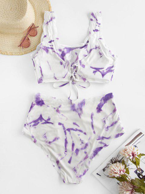 shops ZAFUL Plus Size Tie Dye Scalloped Tankini Swimwear - LIGHT PURPLE XL Mobile