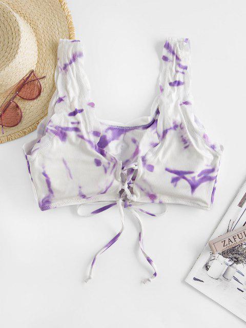 sale ZAFUL Plus Size Tie Dye Scalloped Lace Up Swim Top - LIGHT PURPLE XXXXL Mobile