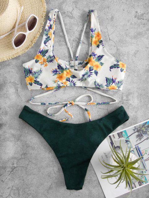 Costume da Bagno Bikini Floreale a Costine di ZAFUL - Verde intenso S Mobile