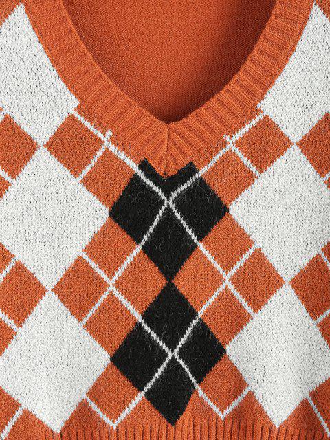 best ZAFUL Argyle V Neck Crop Sweater - ORANGE S Mobile