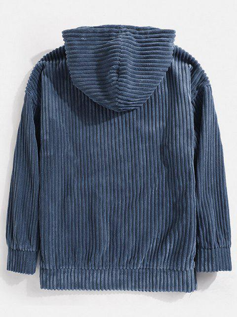 best Corduroy Solid Front Pocket Hoodie - BLUE XL Mobile