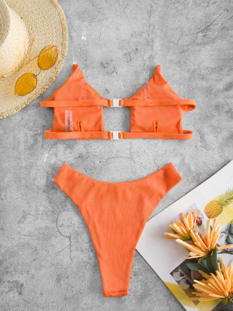 ladies ZAFUL Clear Straps Ribbed Bikini Swimwear - SANDY BROWN M Mobile