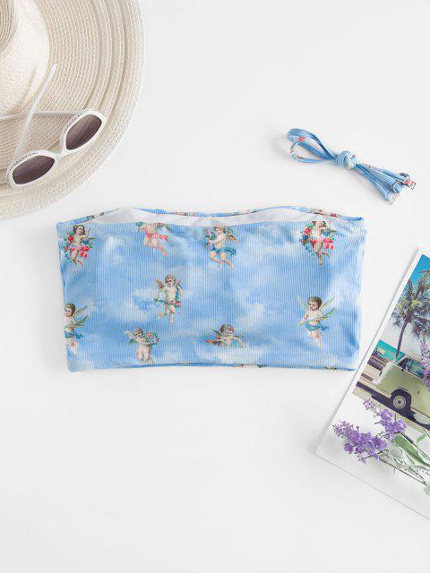 ZAFUL Angel Print Ribbed Renaissance Art Swim Top - أزرق فاتح S Mobile