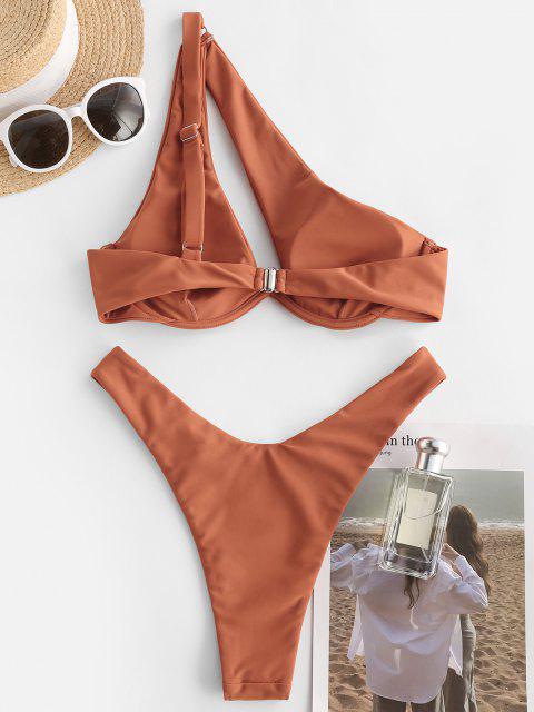 Costume da Bagno Bikini a Monospalla con Ferretto di ZAFUL a Taglio Alto - marrone chiaro M Mobile