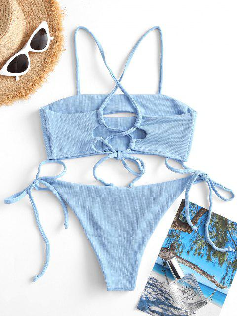ZAFUL Costume da Bagno Bikini a Incrocio con Fiocco - Azzurro S Mobile