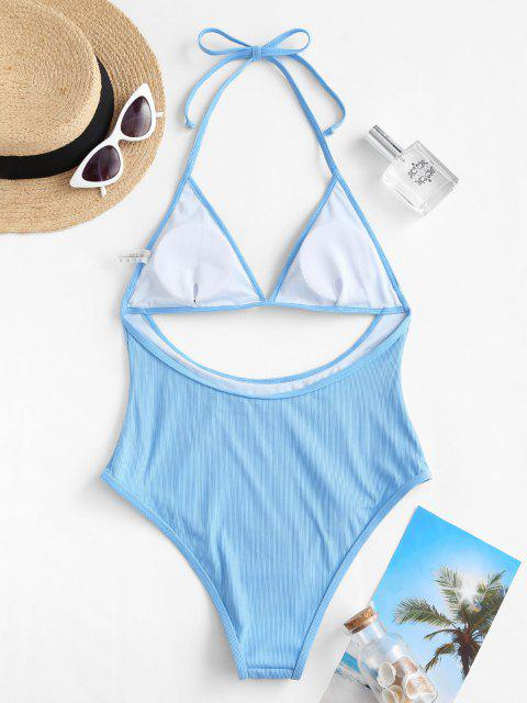 lady ZAFUL Halter Ribbed Cutout One-piece Swimsuit - LIGHT BLUE S Mobile