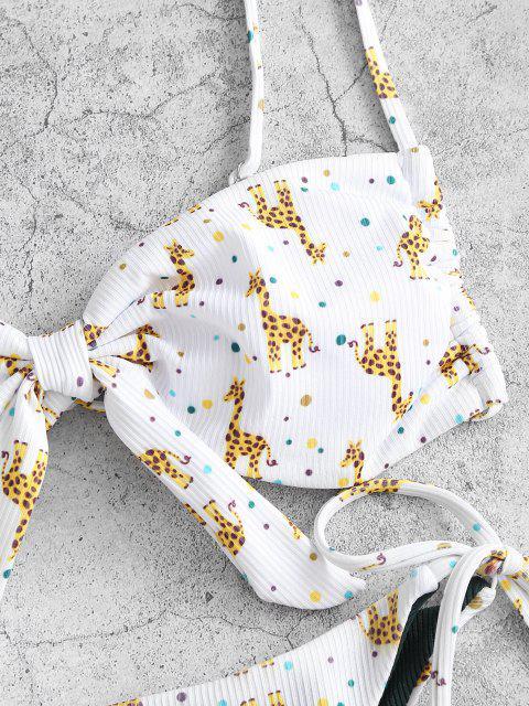 ZAFUL Gerippter Giraffen Druck Schnur Bikini Badebekleidung - Weiß S Mobile