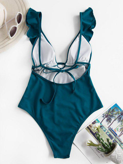 shop ZAFUL Plunge Ruffle Open Back One-piece Swimsuit - DEEP GREEN L Mobile