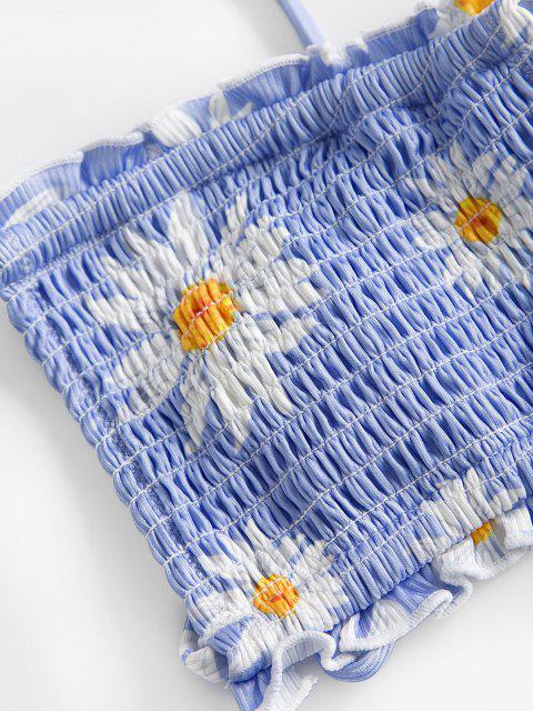 latest ZAFUL Smocked Floral Bralette Cutout String Bikini Swimwear - SKY BLUE M Mobile