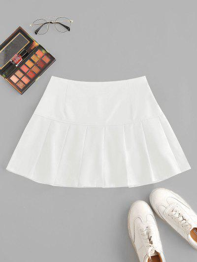 Side Zipper Solid Pleated Mini Skirt - White L