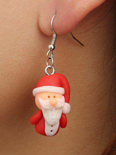 Christmas Santa Claus Drop Earrings - Red Wine