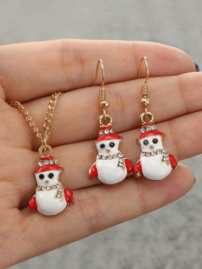 Christmas Snowman Rhinestone Jewelry Set - Golden